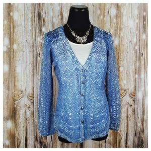 Nic + Zoe Tribal Hand Printed Cardigan Blue S